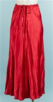 Sale 9071F - Lot 9 - A DEEP RED SUSAN FLOWER MAXI SKIRT; in silk with drawstring wais, size 10