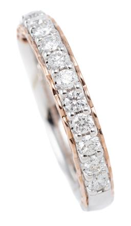 Sale 9123J - Lot 37 - A 14CT WHITE GOLD HALF HOOP DIAMOND RING; set in line on a rose gold plated gallery with 11 round brilliant cut lab grown diamonds t...