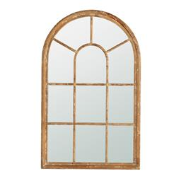 Sale 9140F - Lot 84 - Arched Window panelled Mirror. Solid fir wood frame finished in a highly distressed whitewash for rustic coastal style. Dimensions: ...