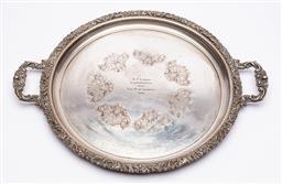 Sale 9170H - Lot 37 - A Hecworth silverplated twin handled circular tray, Width 52cm