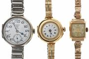 Sale 8442 - Lot 323 - THREE VINTAGE MANUAL WRISTWATCHES; 15ct gold with white dial (hairline crack) with Roman numerals and blued hands (keeps stopping),...