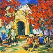 Sale 8475 - Lot 587 - Le Quan (1953 - ) - Hanoi Market Scene 67.5 x 68cm