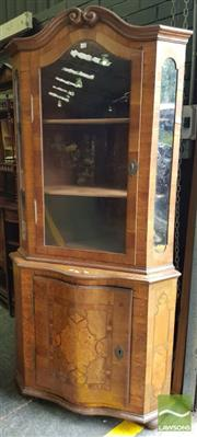 Sale 8485 - Lot 1092 - Baroque Style Walnut Corner Cabinet, with broken arched pediment, above a glass panel door & sides, with bowed marquetry door below...