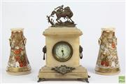 Sale 8521 - Lot 134 - Japanese Pair Of Pots Together With An Alabaster Mantle Clock