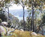 Sale 8738A - Lot 5085 - Kenneth Green (1916 - 1973) - West Head Landscape, Ku-Ring-Gai Chase National Park, NSW, c1940 38 x 45cm (frame: 54 x 62cm)