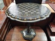 Sale 8868 - Lot 1144 - Victorian Papier-Mache Chess or Games Table, with chequer board, mother-of-pearl inlays & gilding, on a turned pedestal with iron fe...