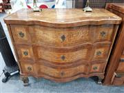 Sale 8939 - Lot 1004 - Scandinavian Walnut & Burr Serpentine Front Chest, of three drawers with veneered panels (loose rear leg / crack & losses to top) H:...