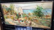 Sale 9019 - Lot 2033 - Eddie Salo Terrace Fountain oil on board, frame: 16 x 32 cm, signed lower left