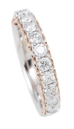 Sale 9123J - Lot 38 - A 14CT WHITE GOLD HALF HOOP DIAMOND RING; set in line on a rose gold plated gallery with 11 round brilliant cut lab grown diamonds t...