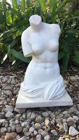Sale 9175G - Lot 22 - Carved Marble Torso Sculpture .General Wear. Has Some Stone Fissure Line .Size: 58cm HX 35cm L x29cm L