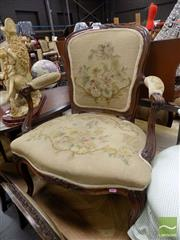 Sale 8444 - Lot 1027 - Pair of Louis XV Style & Probably Period Armchairs, with distressed floral tapestry & cabriole legs
