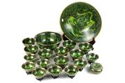 Sale 8452 - Lot 75 - Cloisonne Green Dragon Bowl Suite