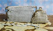 Sale 8577 - Lot 34 - A vintage white mesh small purse with zipper and snakeskin chain together with a vintage Parklane cream coin purse, purse, W 18 x H...