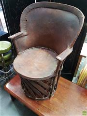 Sale 8585 - Lot 1703 - Leather & Cane Tub Chair