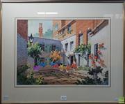 Sale 8600 - Lot 2016 - J. Moia Garden Courtyard, watercolour, 32 x 44cm, signed lower right