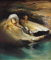 Sale 8781 - Lot 536 - James Gleeson (1915 - 2008) - Figure in Psychoscape 14.5 x 12cm