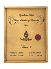 Sale 8876W - Lot 866 - 1x Wyndham Estate Prime Ministers Series II Port Set - 4 bottles in timber box