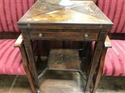 Sale 8868 - Lot 1123 - Victorian Inlaid Rosewood Envelope Top Card Table, fitted with a drawer & on tapering legs with lower shelf (losses)