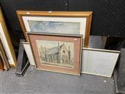 Sale 8932 - Lot 2063 - 3 Works: R.Macek - Church, pencil & wash. SLR; Print of a Ship on Fire & Framed German Certificate