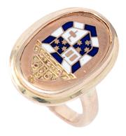 Sale 9074 - Lot 350 - A 9CT GOLD ENAMELLED SIGNET RING; featuring an engraved mitre above a shield inlaid with blue and white enamel, size J-K, top 21 x 1...
