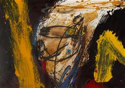 Sale 9161A - Lot 5082 - MARIO DALPRA (1960 - ) Figure in Abstract mixed media on paper 42 x 59.5 cm (frame: 65 x 83 x 3 cm) possibly inscribed verso, with t...
