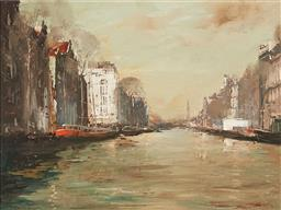 Sale 9133 - Lot 563 - Colin Parker (1941 - ) Reflections, Amsterdam (European Series, 1987) oil on board 44.5 x 59 cm (frame: 67 x 82 x 5 cm) signed lower...