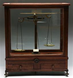 Sale 9138 - Lot 64 - Set of Cantilever Escholl Cased Scales (H:50cm W:46cm D:22cm)
