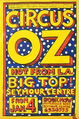 Sale 9157S - Lot 5019 - MARTIN SHARP (1942 - 2013) Circus OZ: Hot from LA screenprint (unframed) 135 x 88.5 cm signed in print