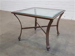 Sale 9157 - Lot 1066 - Wrought iron glass top side table (h50 x d45cm)