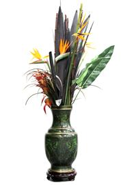 Sale 8452 - Lot 76 - Cloisonne Green Dragon Vase with Faux Bird of Paradise Flowers