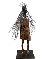 Sale 8683 - Lot 596 - Pin Hsun Hsiang (The Sculptors Society, NSW) - Untitled (Native Figure with Headdress) h. 74.5 (base: 25 x 25cm)