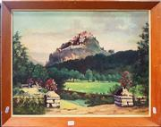 Sale 8678 - Lot 2046 - Artist Unknown - Castle on the Hill, oil on canvas, 50.5 x 60.5cm (frame size), signed lower right
