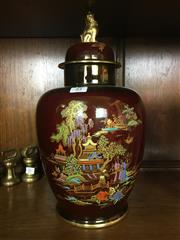 Sale 8730B - Lot 84 - Crown Devon Lidded Urn with Gilt Details Depicting  Chinese Village Scenes H: 36cm