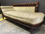 Sale 9031 - Lot 1088 - Late Victorian Walnut Settee, with repeating arch back, upholstered in a cream cut-moquette velvet & turned spindle apron  (H:80 W:1...