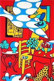 Sale 9047 - Lot 541 - Martin Sharp (1942 - 2013) - Pentecost (4 Mum) 98.5 x 64.5 cm (frame: 140 x 100 x 4 cm)
