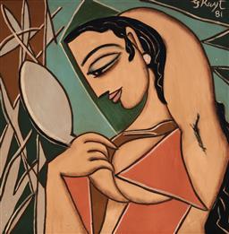 Sale 9141 - Lot 555 - George Keyt (1901 - 1993) - Woman with Mirror, 1981 67.5 x 68 cm (frame: 75 x 75 x 3 cm)