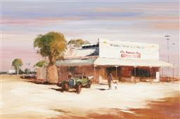 Sale 9150 - Lot 504 - COLIN PARKER (1941 - ) Wattle Trees & Morning Shopping, Mitchell Queensland, oil on board 39.5 x 60 cm (frame: 67 x 87 x 6cm) signed...