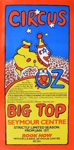 Sale 9157S - Lot 5016 - MARTIN SHARP (1942 - 2013) Circus OZ - Big Top! screenprint (unframed) 134.5 x 67 cm signed in print