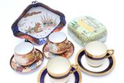 Sale 8706 - Lot 38 - Bavarian and Chinese Coffee Duos Together with An Imari Dish and An Indian Container