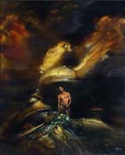 Sale 8722 - Lot 537 - James Gleeson (1915 - 2008) - Variation on the 14 Wanderers Theme, c1965 14.5 x 12cm
