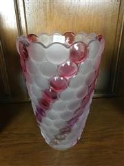 Sale 8730B - Lot 85 - Glass Vase with Pink and Frosted Glass Details H: 24cm