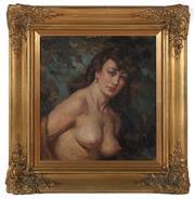 Sale 8908H - Lot 20 - NORMAN LINDSAY (1879 - 1969) - Phyllis, circa 1945 35.5 x 33.5cm