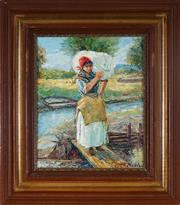 Sale 8961 - Lot 2014 - European School - Peasant Girl 28 x 22.5 cm (frame: 44 x 39 x 5 cm)