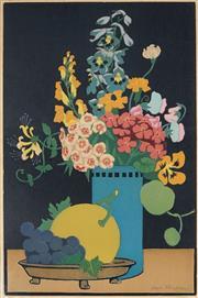Sale 9067 - Lot 501 - John Hall Thorpe (1874-1947) - Fruit & Flowers, c1925 40.5 x 27 cm (frame: 57 x 41 x 2 cm)
