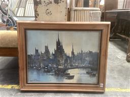 Sale 9101 - Lot 2064 - A Retro Painting of a European Harbour Scene by Leonardo M. Zablan, 60 x 75cm signed