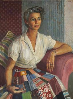 Sale 9116 - Lot 550 - Douglas Dundas (1900 - 1981) Portrait of a Lady oil on canvas 99.5 x 74 cm (frame: 116 x 91 x 4 cm) signed upper right