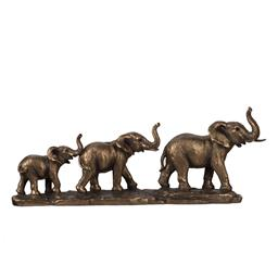 Sale 9140F - Lot 88 - A Elephant Family Statue featuring a train of three elephants - small, medium, and large made of polyresin. Dimensions: W45.5 x D8 x...