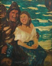 Sale 8575J - Lot 43 - After Leandro Ramón GARRIDO - 19th century portrait of a fisherman and his wife 25 x 20cm
