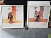 Sale 8491 - Lot 2035 - Robert Hagan (1947 - ) (2 works) - African Elephants 68 x 62.5cm, each