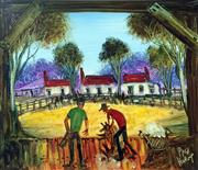Sale 8507A - Lot 5003 - Kevin Charles (Pro) Hart (1928 - 2006) - The Blade Shearers 24 x 28cm